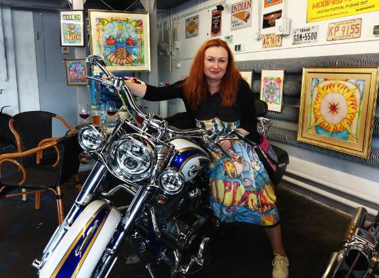 Mandalas by Elena Tronina. Exhibition at Jack's Motorcycles Service Parts Garage.