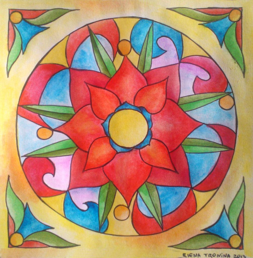 SPRZEDANE / SOLD // Elena_Tronina_mandala_10 // PL: Czakra#1 – 13 cm x 13 cm, papier, akwarela 2013 (oprawiony, 15 cm x 15 cm) // ENG: Chakra#1 – 13 cm x 13 cm, paper, watercolour, 2013 (framed, 15 cm x 15 cm)