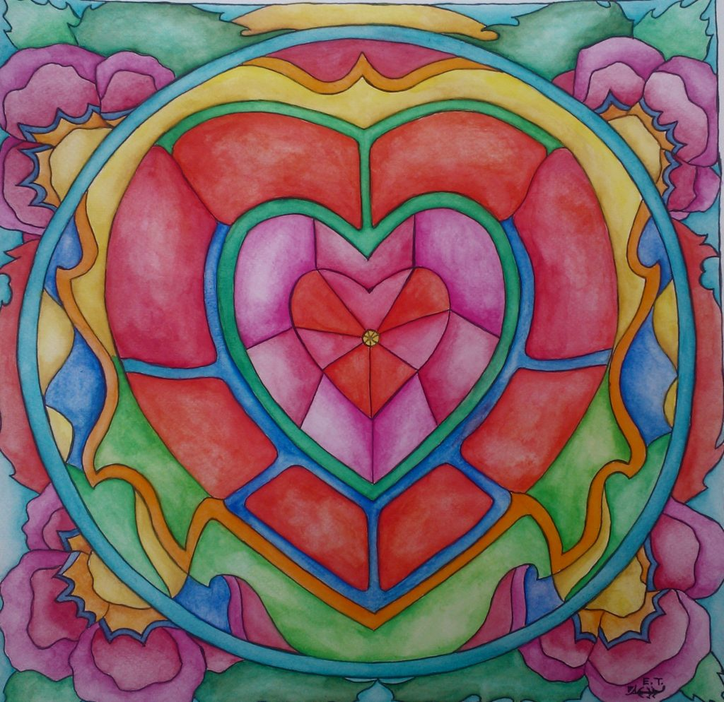 SPRZEDANE / SOLD // Elena_Tronina_mandala_11 // PL: Serce – 24 cm x 24 cm, akwarela, 2015 // ENG: The heart – 24 cm x 24 cm, watercolour, 2015